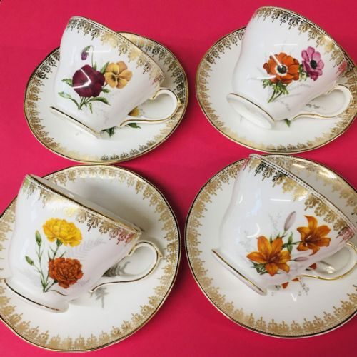 Duchess - Bone China - Floral Duo x 4